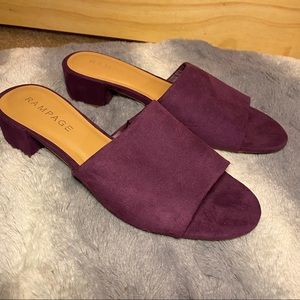 Purple Suede Mules